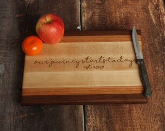 Personalized Wood Cutting Board - Walnut Cherry And Maple Custom Cutting Board - Edge Grain Cutting Board - Our Journey Starts Today