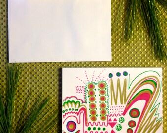 Unique Hand Drawn Blank Card
