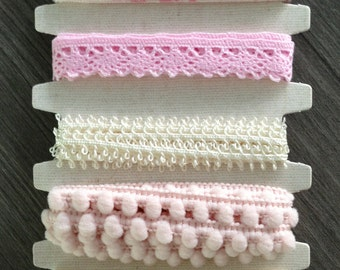 SET 6 Types 6 Yards - Creamy & Pink Tone - Ribbon Trims by La'boom - Lace, Pom Pom, Rope, Printed Grosgrain
