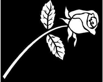 Vinyl Decal Rose bud flower country bumper sticker car truck laptop