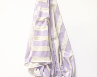 Swaddle Blanket - Baby Blanket - Lilac and Oatmeal Stripe