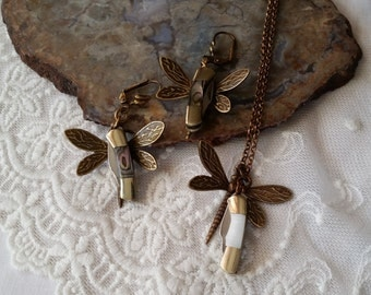 Miniature Knife Earrings, Dragonfly  Knife Jewelry, Vintage Style, Tiny Knife Necklace, Dragonfly Knife Pendant, Nature Knife