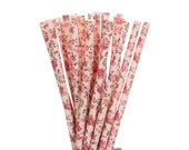 Paper Straws, Rose and Pink Floral Paper Straws, Garden Party Decor, Tea Party Supplies, Bridal Shower Paper Straws, Champagne Brunch Straws