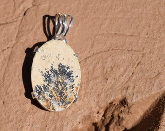 Sterling Silver Dendrite Stone Pendant with Chain