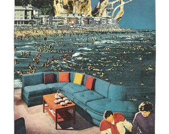 """Collage art, mid century, surreal, """"Too Crowded"""""""