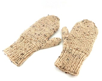Children's Knit Mittens, Oatmeal Fleck, Child Size 8, Hand Knit Mittens-Mitts, Price Includes Shipping to US and Canada, MittLandia