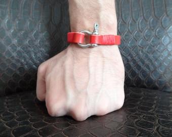 EXPRESS SHIPPING,Unisex Red Leather Bracelet, Unisex Jewelry, Crome Screw Clasp Bracelet, Unisex Charm Bracelet, Valentine's Gifts