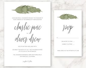 Printable Wedding Invitation - Watercolor Greenery - Leaf - Nature - DIY Printing - Minimal - Simple