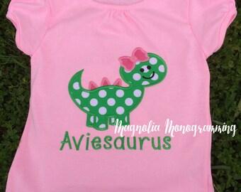 Girl Dinosaur Applique Shirt