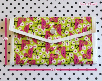 Ladies Duct Tape Wallet - Flamingos