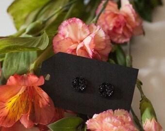 11MM Black Druzy Stud Earrings - Great Bridesmaid Gift!