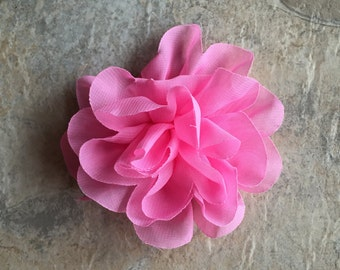 "4.2"" Chiffon flower, PINK, layered flowers, headband flowers, wedding flowers, headband supplies, material flowers, flowers, large flowers"