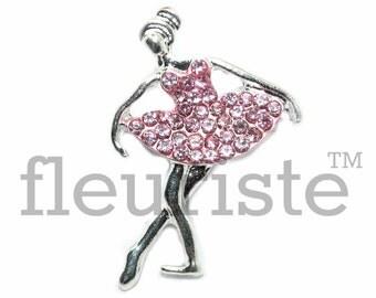Ballerina 29 by 20 mm Rhinestone, Ballet Rhinestone,  Flat Back Rhinestone, Embellishment, Wholesale Metal Button, Ballet Flatback