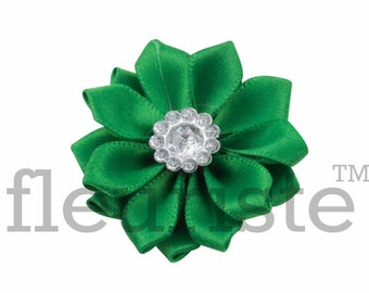 EMERALD Ribbon Flower With rhinestone center, Satin flower, Fabric rose, Rolled Rosette, Wholesale Flower, Fabric Flower, Satin Flower, 3pc