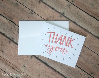 hand lettered coral and navy thank you foldable digital download notecard with envelope template