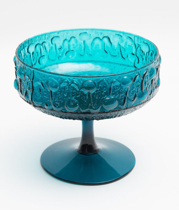 Italian Hand blown teal glass punch with texture
