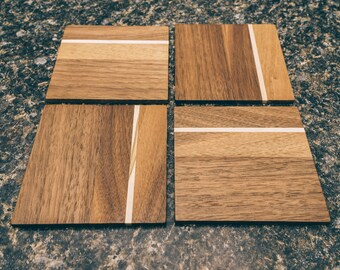 Walnut and Oak coasters set of 4