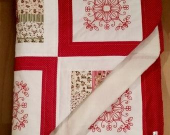 Red work quilt
