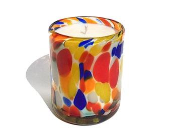 "Hand Blown Recycled Glass ""Liquid Confetti"" Art Tumbler Multi Color 11 oz Soy Candle, Vanilla"