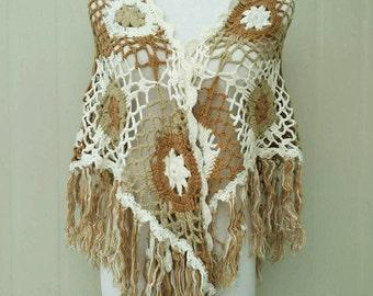 Crochet Shawl Granny Square Triangle Scarf with Fringe