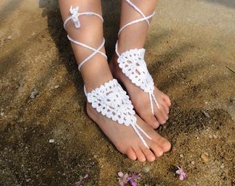 Children White Crochet Barefoot Sandals Flower Girl Shoes