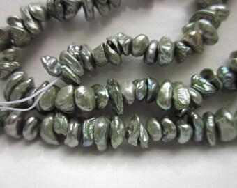 """Sage Green Keshi Freshwater Pearls, 16"""" Strand"""
