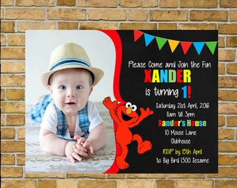 Elmo Invitation, Sesame Street, 1st Birthday invitation, Sale!!! Personalised and ready for you to print