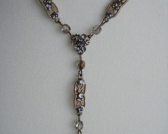 Art deco dusky blue and copper crystal necklace