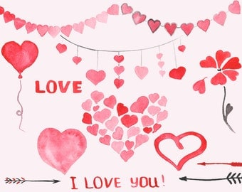Hearts Watercolor Clip Art