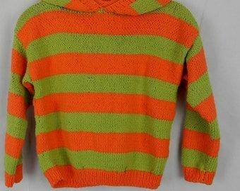 HOODED HOODIE kids SWEATER stripe cotton Gr. 128/134 * handmade