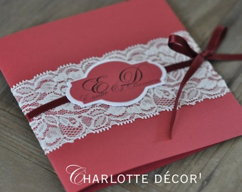 Custom square announcements + wide lace