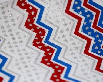 Red White and Blue Stripe Fabric. Stars and Stripes. Glitter. Chevron.