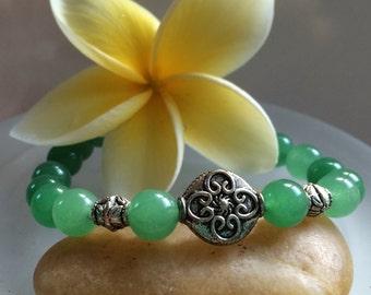 Mala Bracelet, Yoga Bracelet, Chakra Bracelet, Boho Bracelet, Beaded Bracelet, Dark Green Aventurine Bracelet, Prosperity Bracelet