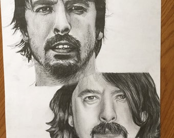 A3 Dave Grohl Portrait Young & Old