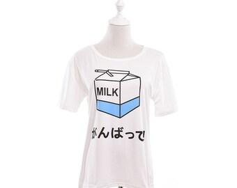 Japanese KAWAII White Milk box T-Shirt