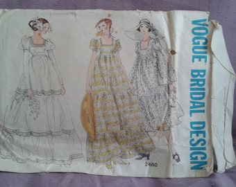sz 12 Vintage Vogue Bridal Design 2460 sewing pattern knee length or long 3 tiered wedding dress 1970's boho style