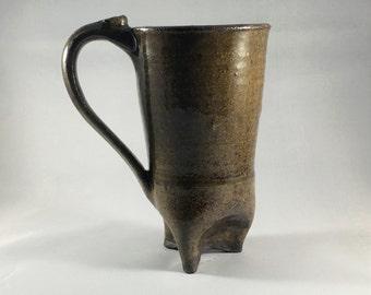 Ceramic tripod mug in dark brown and green, wheel thrown, handmade.