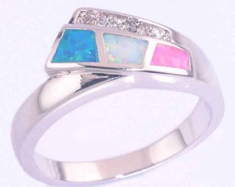 Silver  Ring with Fire opal size 8