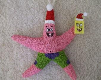 Patrick and Sponge Bob Christmas Starfish Ornament, Kids Ornaments, Boys and Girls Gifts, Stocking Stuffers