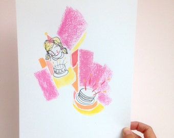 Birthday Girl (Pink & Yellow) - Original A4 Mixed Media Illustration