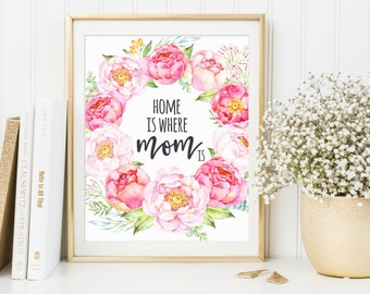Home Is Where Mom Is, Mother's Day Print, Printable For Mother, Print For Mom, Mother Day Quote, Printable Mother, Mom Printable, Mom Decor