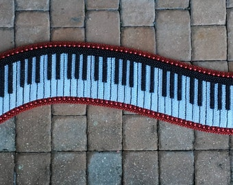 Piano Keyboard Bead Art, Music Art, Mardi Gras Bead Art