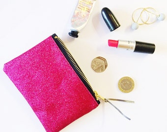 Pink glitter purse. Sparkly wallet.