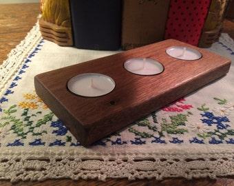 Handmade Mahogany Tea Light Wood Holder
