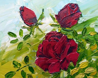 Red Roses Original impasto oil painting No.04-07 ready to ship canvas board 8 x 8