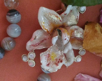 Orchid Necklace, agate and hand painted enamels
