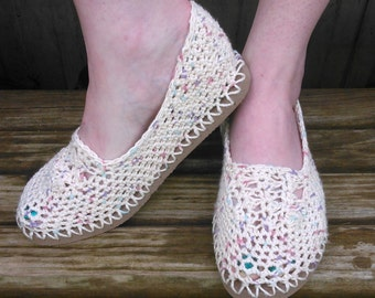 Slipper Flops - Lightweight Crochet Handmade Slippers with Flip Flop Sole  ***Pin Our Listings to Save ***