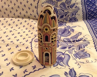 Hand Made Ceramic Candleholder In the Shape of a Tower