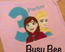 Frozen Anna and Elsa Birthday Shirt