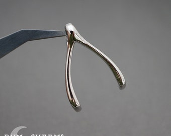 0364 - Pendant Connector, Glossy Original Rhodium Plated, Simple 3D Wishbone Pendant, 2 Pieces